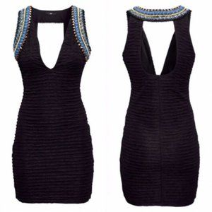 H&M Beyonce Collection Black Body Con Beaded Dress